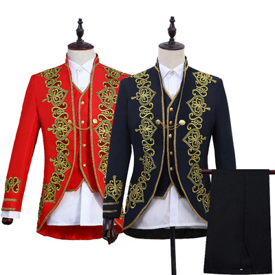 men's jazz dance suit blazers Men dress love court men court black gold edge Decal three piece studio opera European style