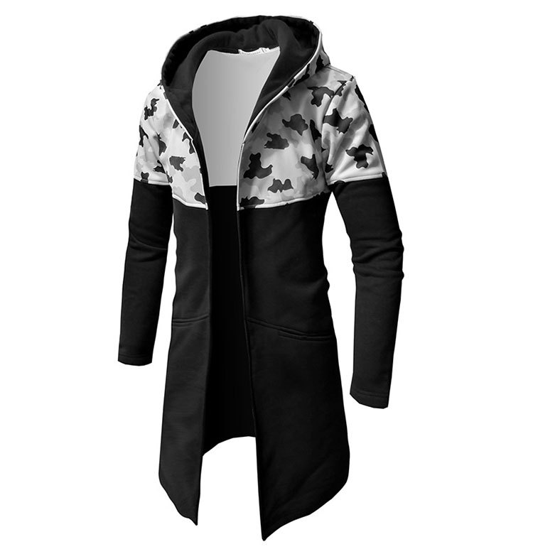 Sumitong men's autumn new camouflage color matching long sweater for men's Korean slim cardigan Hoodie