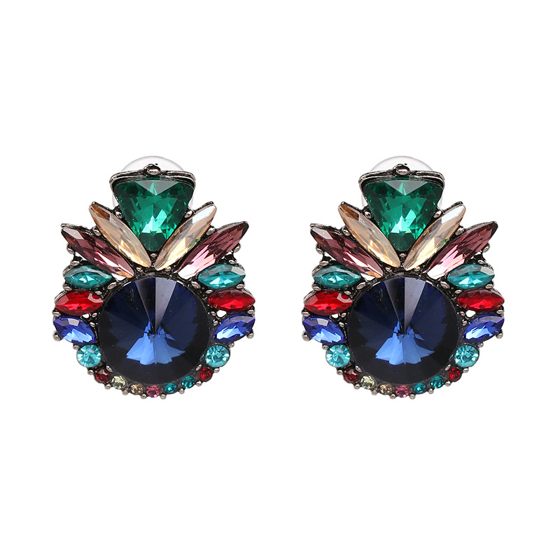 Imitated crystal&CZ Fashion Flowers earring  (color) NHJJ5079-color