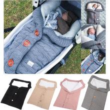 歐美新款紐扣睡袋 嬰兒戶外寶寶推車睡袋 毛線針織加絨加厚保暖