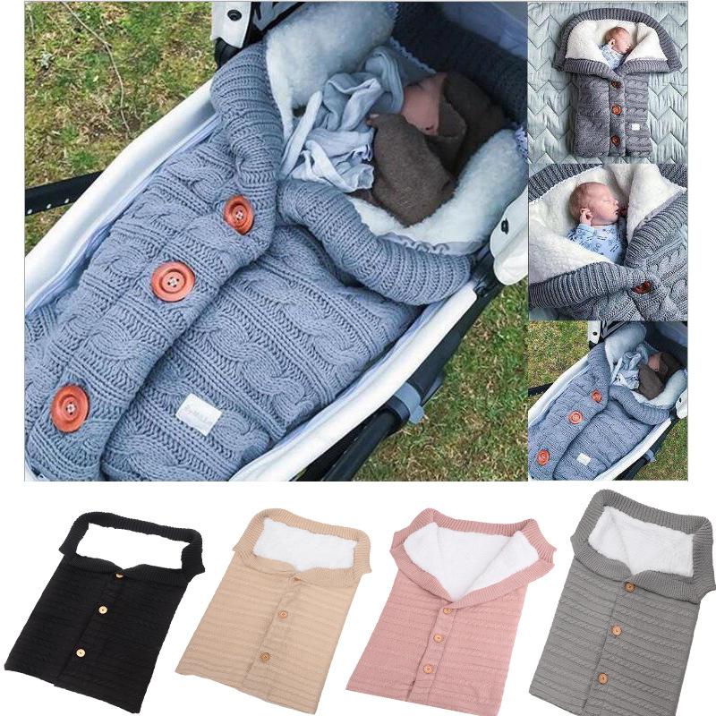 欧美新款纽扣睡袋 婴儿户外宝宝推车睡袋 毛线针织加绒加厚保暖