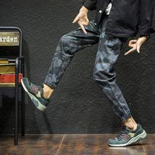 微商團購 2018 春秋季男式迷彩工裝休閑褲束腳褲青年學生運動褲男