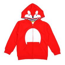 童装春秋款外套女童开衫红色狐狸毛圈连帽卫衣男童长袖拉链运动服