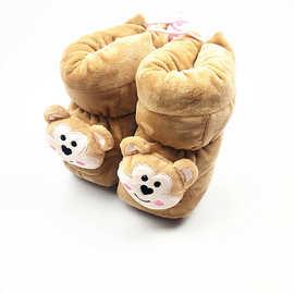 包邮 卡通保暖鞋 高帮小猴子婴儿宝宝鞋子0-1岁软底防滑学步鞋