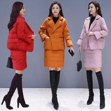 棉衣/棉服保暖气质翻领双排扣韩版优雅显瘦2018年冬季两件套