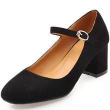 2018春季新款女鞋中跟大码外贸单鞋40-43反绒玛丽珍鞋复古风M13-6
