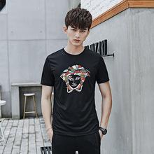 2018夏季新款圆领男士短袖丝光棉刺绣男式t恤休闲套头上衣可定制
