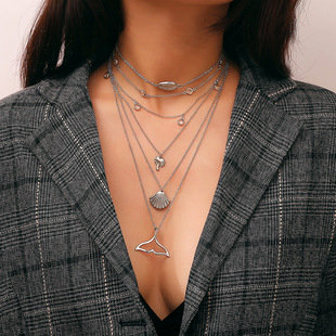 European and American cross-border jewelry, bohemian style retro set item, personalized fashion alloy shell multi-layer necklace