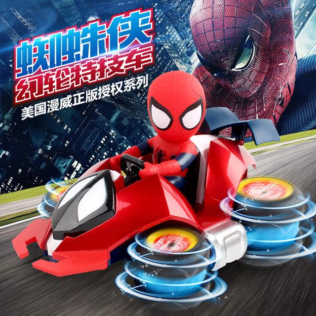 Âm thanh rung với chiếc xe điều khiển từ xa Người nhện Marvel M033 Sạc xe đóng thế tốc độ cao trôi dạt bốn bánh đồ chơi trẻ em Xe điện điều khiển từ xa