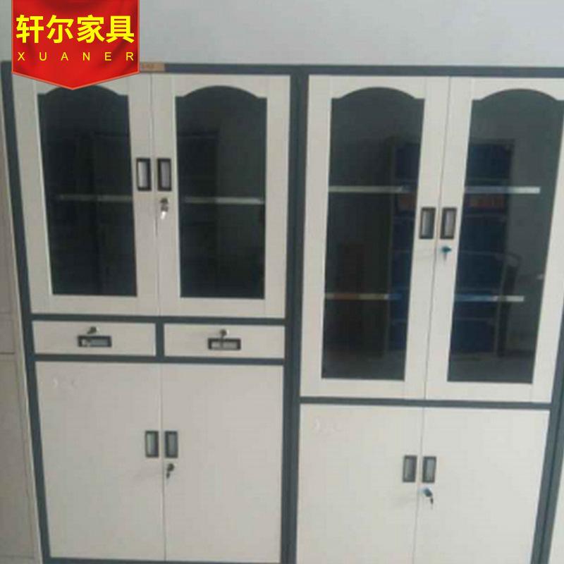 现代办公铁皮文件柜 加厚钢制文件柜 带锁储藏柜档案柜玻璃柜