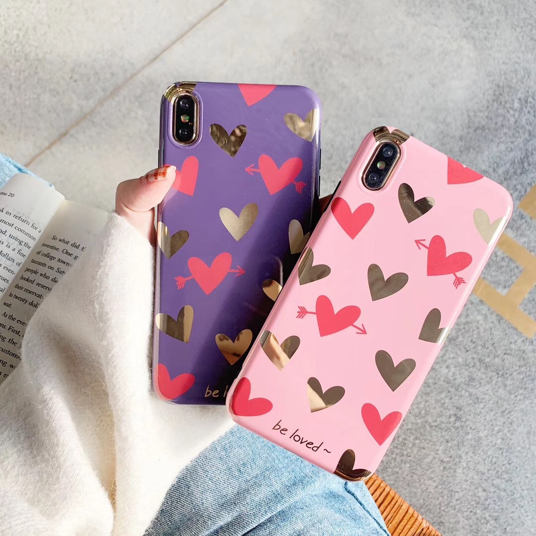 Glitter hot stamping love for x/xs mobile phone case 6s soft silicone iphone7/8plus/XR/XsMax female
