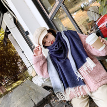 New scarf female double-sided versatile warm scarf shawl dual-use autumn and winter imitation cashmere scarf