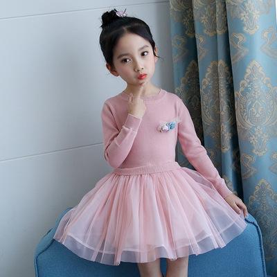 2018 mùa xuân mới quanh cổ áo len dài tay eo Hàn Quốc váy công chúa cô gái một thế hệ các chất béo