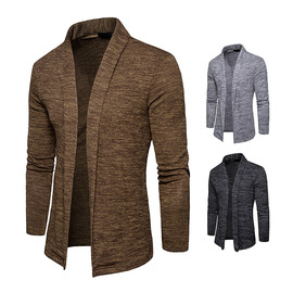 Spring new fashion men's long-sleeved sweater Lapel shawl sweater sweater