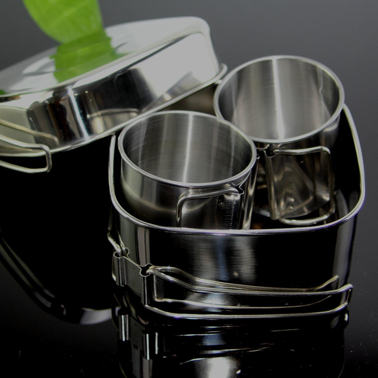 亚马逊爆款不锈钢方形饭盒 户外野营锅套装 饭盒水杯套装