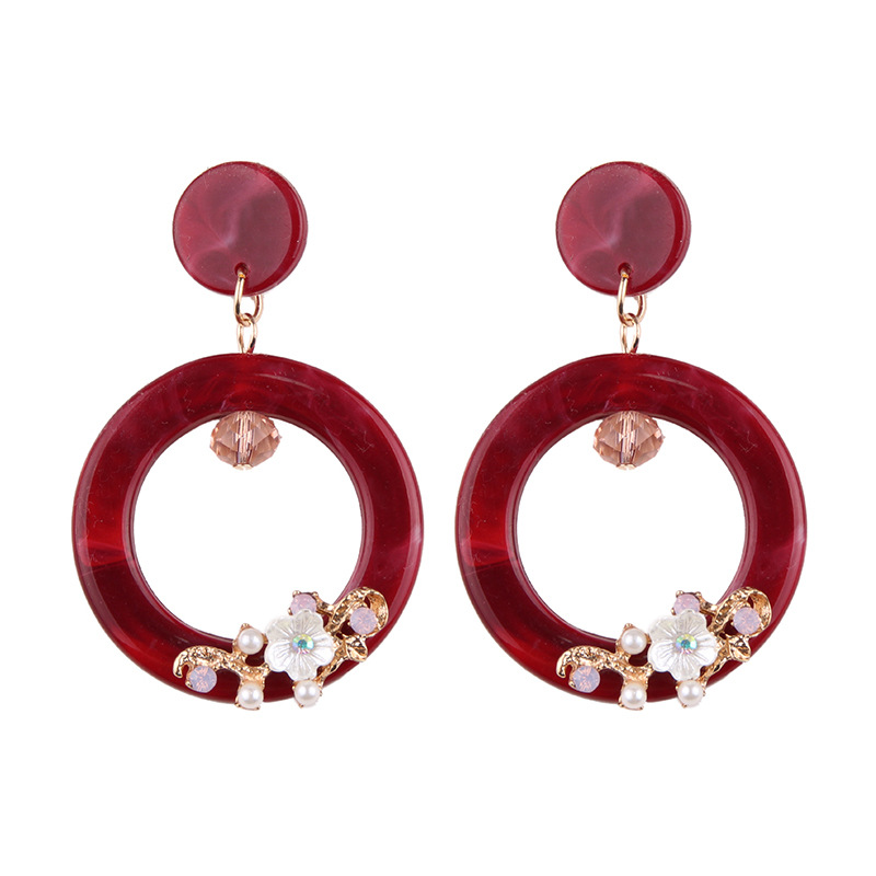 Acrylic Fashion Geometric earring(red) NHJQ10138-red