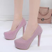 单鞋成人礼细跟韩国公主防水台女鞋子甜美婚鞋圆头性感夜店高跟鞋