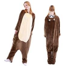 厂家直销2018热销动物卡通连体睡衣棕色猴子 居家 法兰绒睡衣