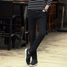 优质舒适简约小脚裤男纯黑色牛仔裤弹力超爆款经典牛仔裤男正品潮