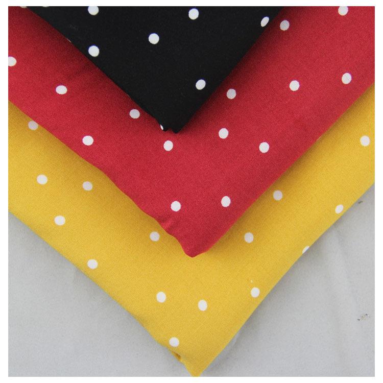 现货黑色波点 人造棉平纹印花布 100%粘胶 棉绸 家居裤 连衣裙