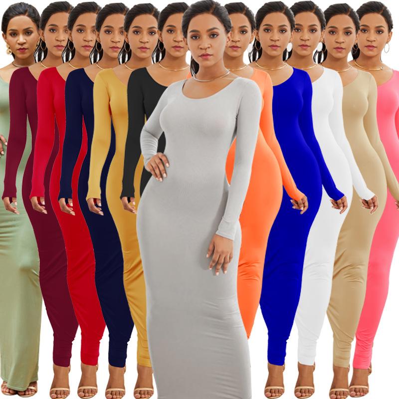 欧美热销亚马逊 速卖通 爆款女装性感背心长裙时尚长袖个性连衣裙