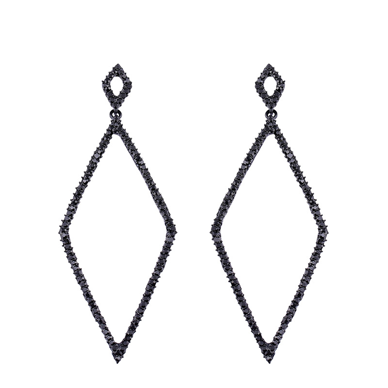 Imitated crystalCZ Simple Geometric earring  black  Fashion Jewelry NHAS0506black