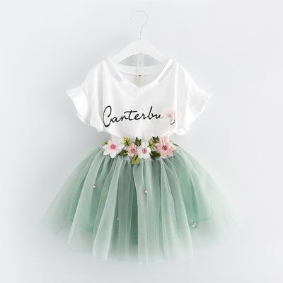 货源外贸ins爆款韩版女童夏季套装女宝宝短袖字母T恤网纱半身裙两件套批发