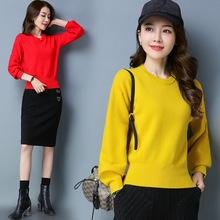 灯笼袖套头毛衣女款短款修身2018秋冬新款韩版长袖百搭打底羊毛衫