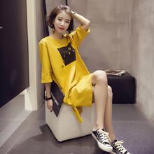 2020夏装新款韩版宽松中长款短袖开叉连衣裙女半袖学生t恤女上衣