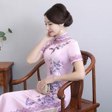 2018夏季新款手绣真丝旗袍长款桑蚕丝日常改良旗袍连衣裙一件代发