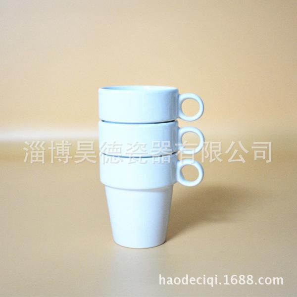 厂家生产 白色炻瓷 个性创意 定制 陶瓷咖啡茶罗叠马克杯