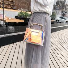 韩版夏季新款包包透明女包 镭射个性猫把手提包女士单肩斜挎包潮