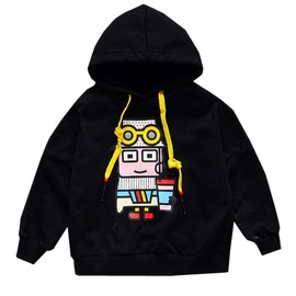 Autumn women's medium and small children's printing robot hooded casual sweater tide children's clothing