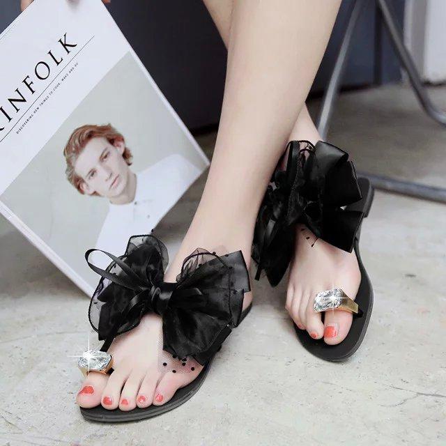 韩版平底花朵女士凉拖2018夏季韩版黑色蕾丝?#23383;?#25302;鞋大码跨境批发