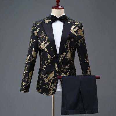 Men's black West ceremonial dress blazers set stage performance wedding party groomsman guest band host singers performance coats and pants