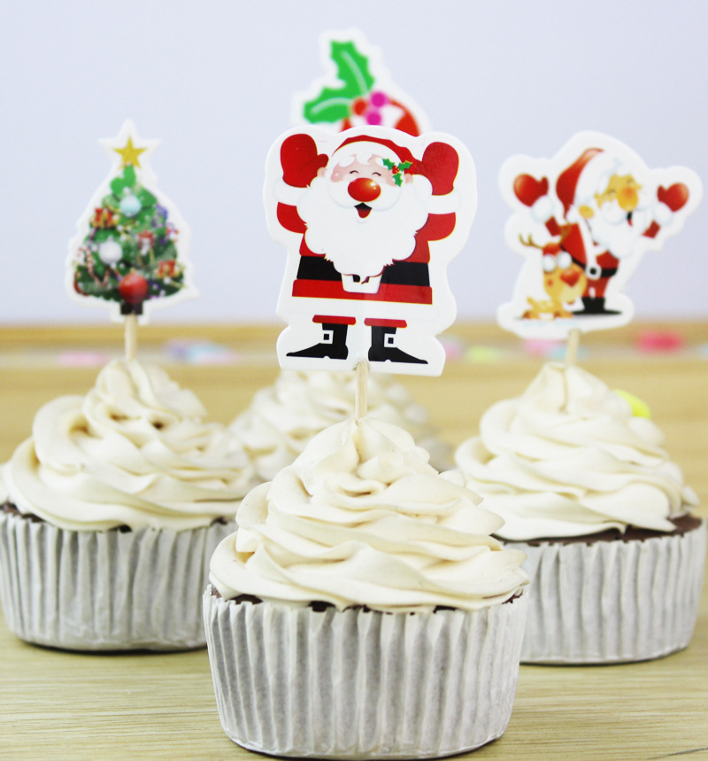 Christmas Cupcake Toppers.2019 Christmas Cupcake Topper Paper Santa Claus Xmas Tree Cake Topper Christmas Festival Home Decoration Party Supplies From Cosmose 23 12