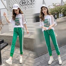 运动套装2018夏季新款韩版女装连帽时尚休闲运动服两件套