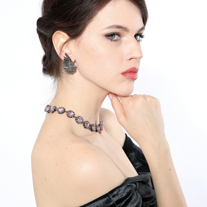Alloy Fashion Flowers necklace(Black-1) NHQD5113-Black-1