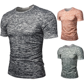 New summer men's round collar, full length, short sleeved T-shirt, short-sleeved T-shirt,