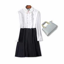 18 summer new product Goddess temperament delicate finger embroidery collar color pleated stitching A-line shirt dress