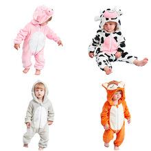 2018嬰幼兒加厚連體哈衣冬季寶寶爬服動物造型厚款連身衣嬰兒服裝