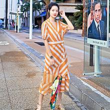 条纹短袖连衣裙夏季2018新款原创设计师精品女装清新拼接裙子批发