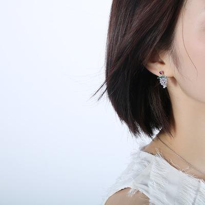 韩版百搭葡萄耳环女个性时尚耳钉甜美水果微镶超仙女神气质耳饰女