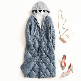 Winter new down jacket women's fashion European and American style stitching hit color hooded long coat female 7408