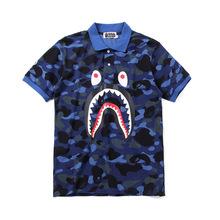 日系潮牌鲨鱼牙齿图案夏季新款印花迷彩紫翻领个性POLO短袖T恤
