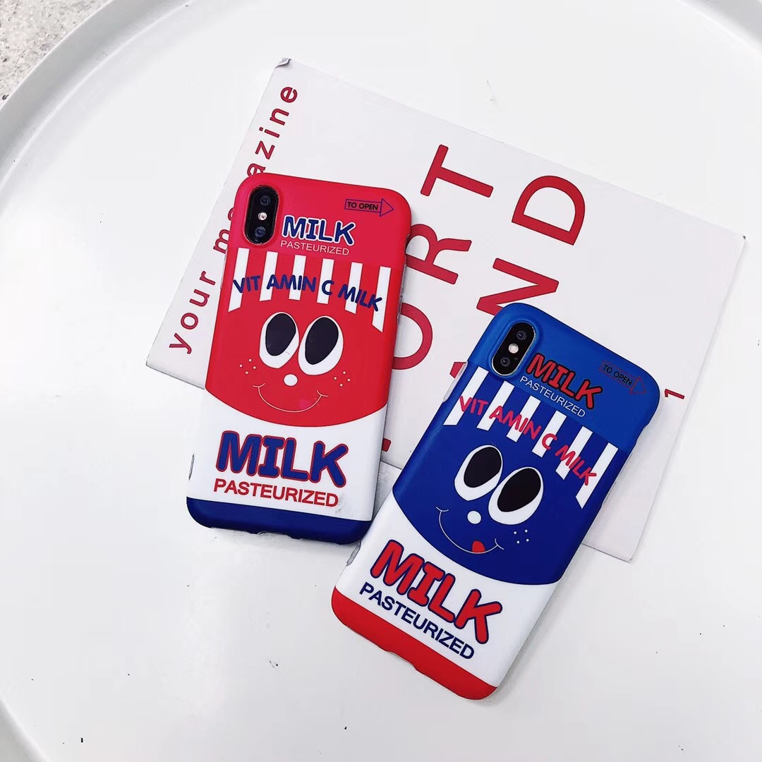 Ins wind cartoon milk smiley apple X mobile phone shell iPhone6s/7/8plus all-inclusive couple soft shell creative