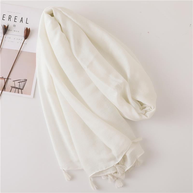 Solid color nude powder shiny tassel cotton linen scarf shawl long scarf silk sunscreen shawl NHGD175767