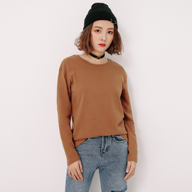 Solid color long-sleeved women's bottoming shirt loose straight shirt spring cotton classic round neck sanding women's t-shirt