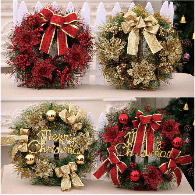 圣诞节花藤圈装饰品门饰 酒店餐厅仿真圣诞花环 商场门面装饰