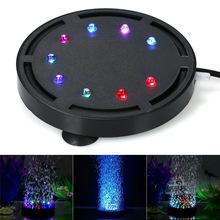 鱼缸造景装饰七彩色水族灯LED潜水灯鱼缸灯气盘灯圆形增氧气泡灯